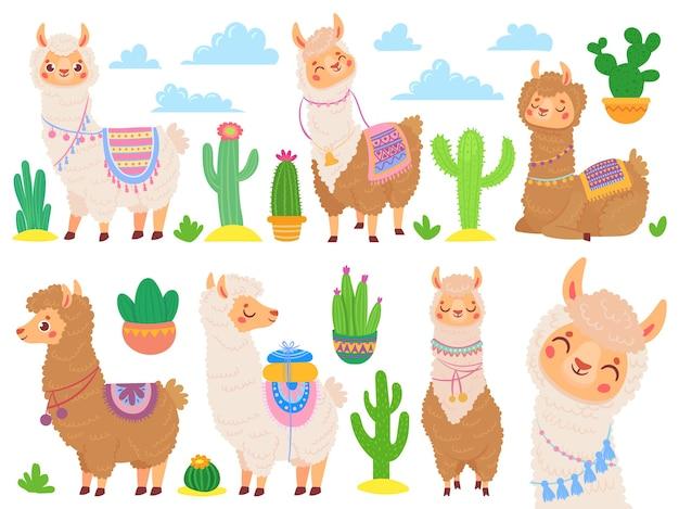 Cartoon alpaca messicano. lama divertente, simpatico animale dei cartoni animati e lama con cactus del deserto Vettore gratuito