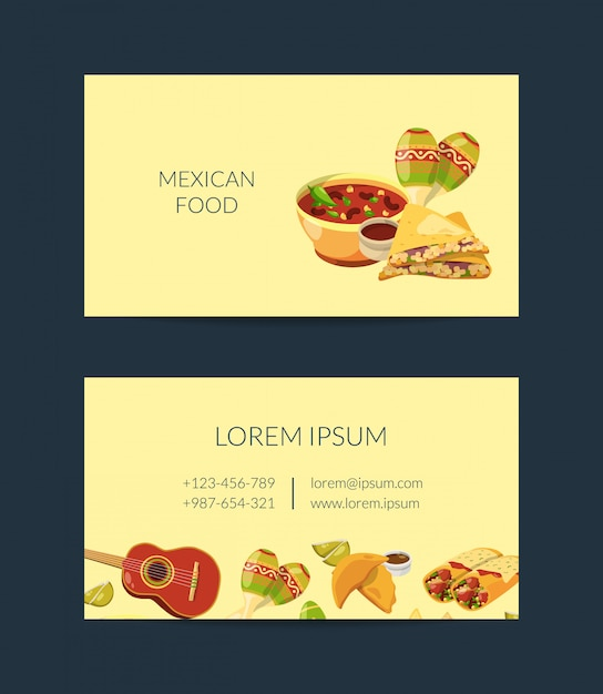 Cartoon mexican food business card template for mexican cuisine Premium Vector