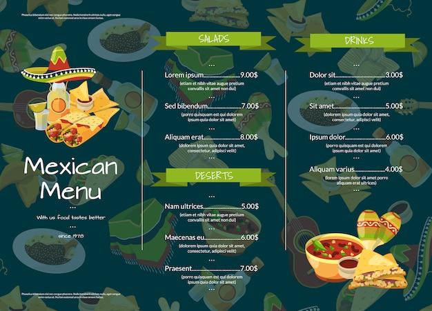 Мультфильм шаблон меню мексиканской кухни кафе ресторан иллюстрации Premium векторы