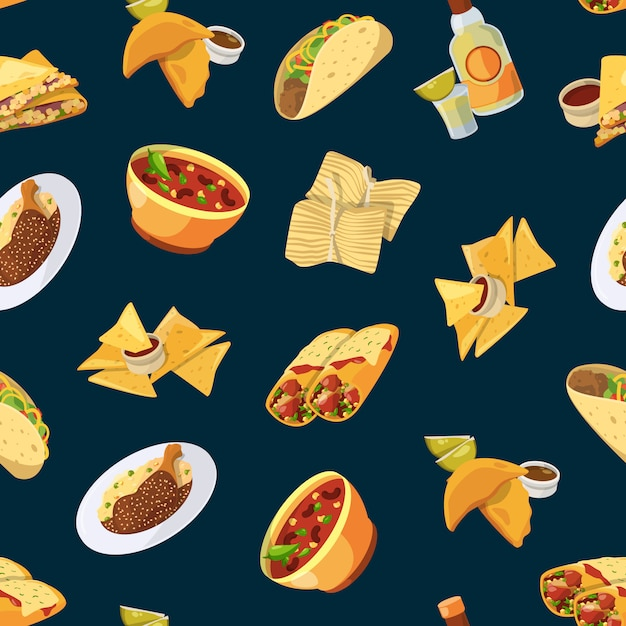 Cartoon mexican food pattern or Premium Vector