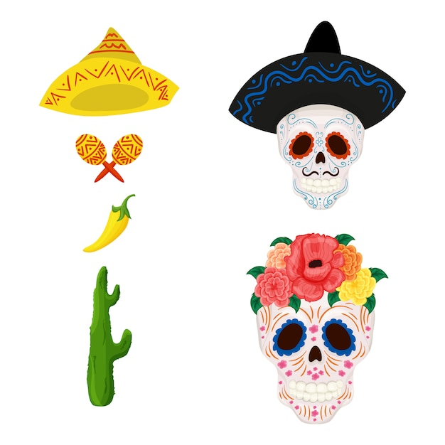 Cartoon mexican sugar skull illustration and objects for cinco de mayo Premium Vector