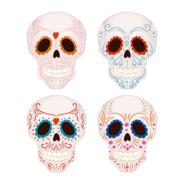 Cartoon mexican sugar skull with traditional patterns illustration for day of the dead Premium Vector