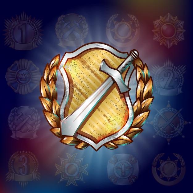 Шаблон военной премии мультфильм Бесплатные векторы