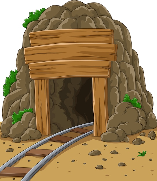 Cartoon mine entrance Premium Vector