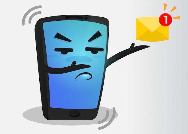 Cartoon mobile phone message alert. Premium Vector