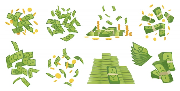 Cartoon money collection. green banknote and gold coins cartoon illustration. flying and rolls bills, stacks of coins. dollar rain Premium Vector