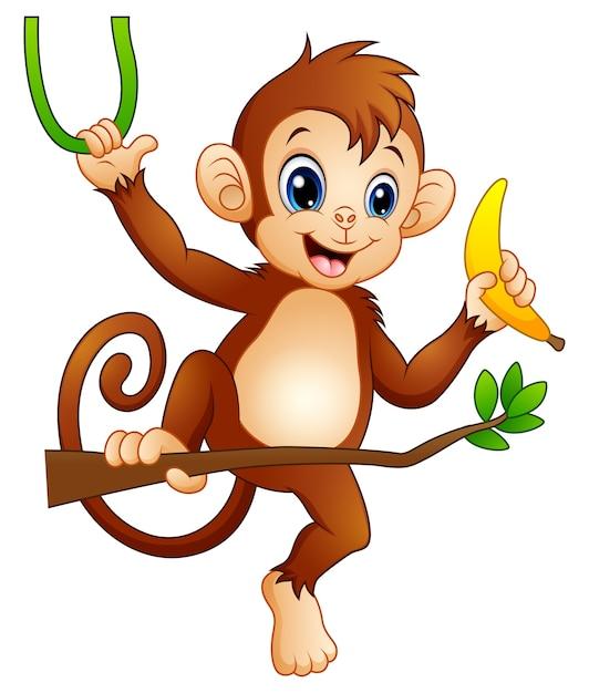 ブランチツリーとバナナを持つ漫画の猿 Premiumベクター