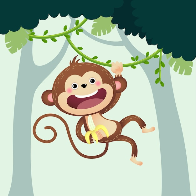 Мультяшная обезьяна с бананом, свисающим с лианы в джунглях. Premium векторы
