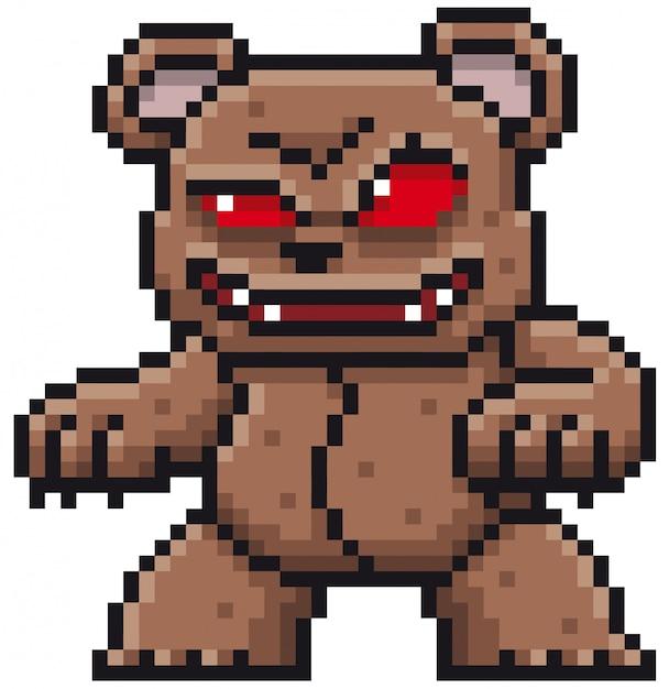Cartoon monster bear pixel design Premium Vector