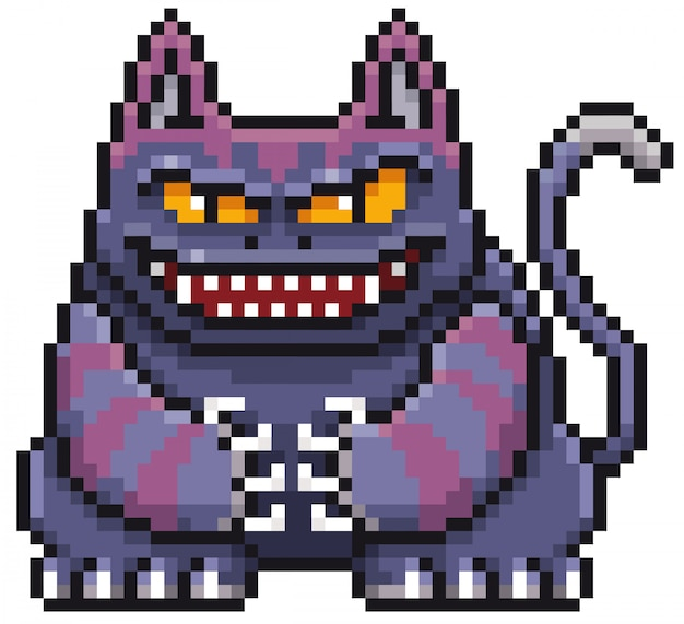 Cartoon monster cat pixel design Vector | Premium Download