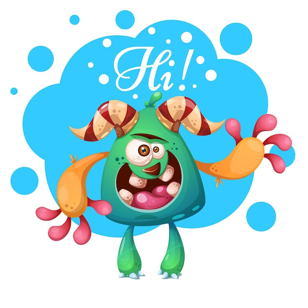 Cartoon monster characters Premium Vector