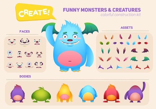 Premium Vector Cartoon Monster Creation Construction Kit