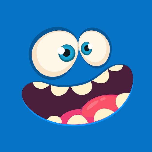 Cartoon monster face avatar.  halloween monster Premium Vector