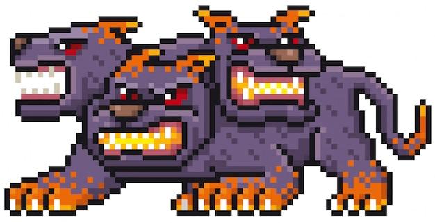 Cartoon monster pixel design Premium Vector
