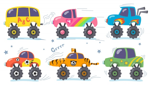 Cartoon monster trucks set Free Vector