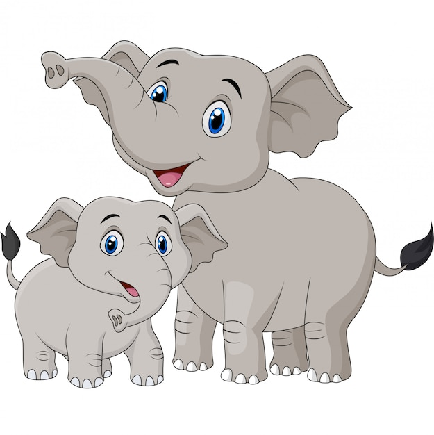 Мультфильм мама и слоненок Premium векторы