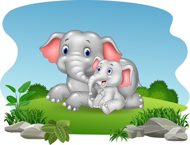 Cartoon mother and baby elephant in the jungle Premium Vector