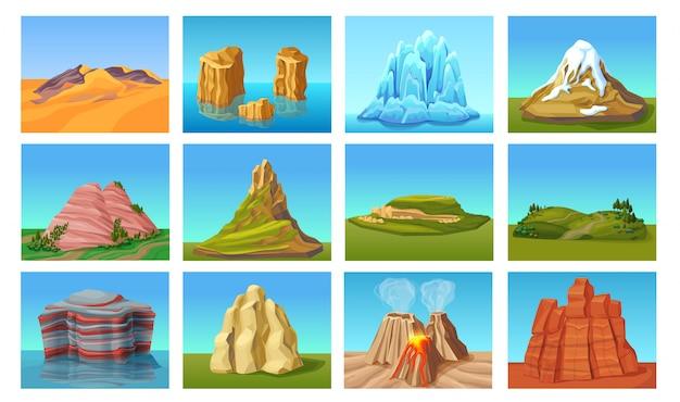 Set di paesaggi di montagna del fumetto Vettore gratuito