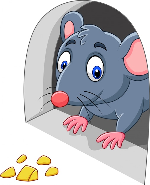 Cartoon mouse and cheese in the hole Premium Vector