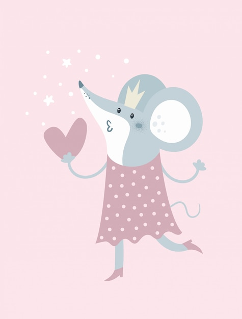 Cartoon mouse in crown and with heart Premium Vector
