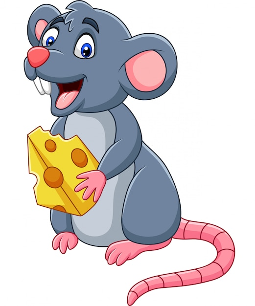 Cartoon mouse holding slice of cheese Premium Vector