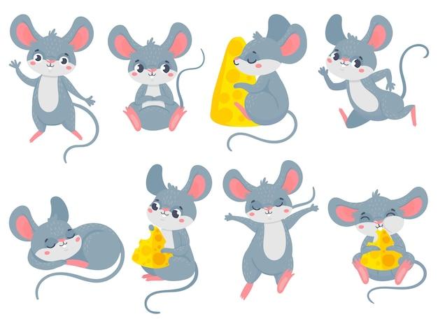 Мультяшная мышь. маленькие милые мышки, забавные маленькие домашние грызуны и мышки с сыром. Premium векторы