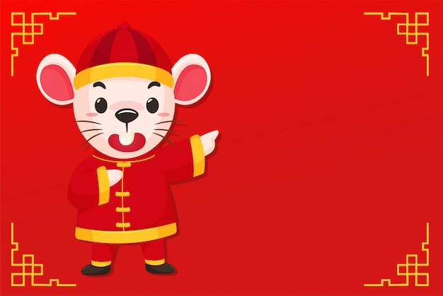 Cartoon mouse wearing a chinese dress on the red of chinese new year Premium Vector