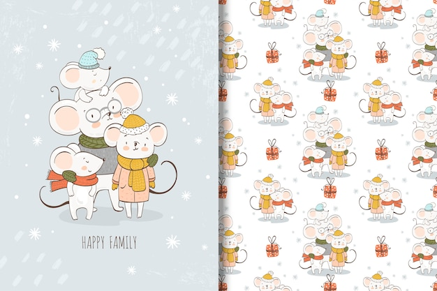 Cartoon mouses family illustration and seamless pattern Premium Vector
