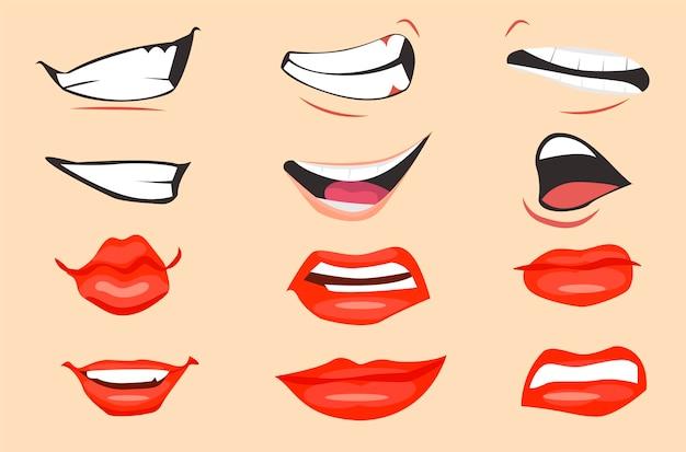 Cartoon mouth expressions set. vector illustration. Premium Vector