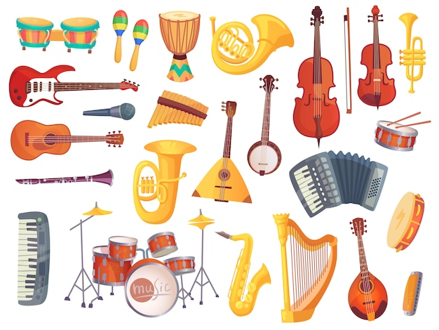 Cartoon musical instruments, guitars, bongo drums, cello, saxophone, microphone, drum kit isolated. music instrument vector collection Premium Vector