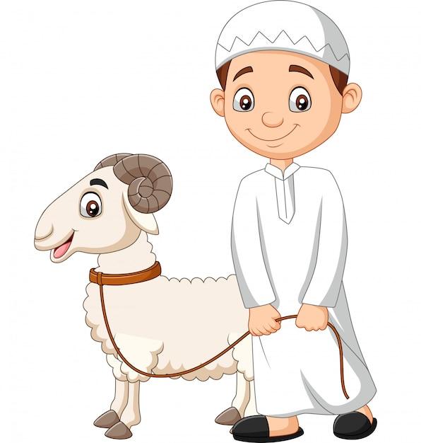 Cartoon muslim boy with a goat Premium Vector