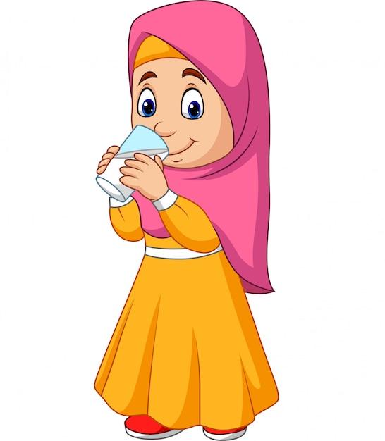 Cartoon muslim girl drinking water Premium Vector