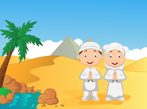 Cartoon muslim kids with pyramid background Premium Vector