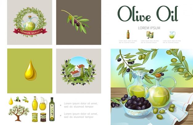オリーブの花輪の木の枝を持つ漫画ナチュラルオリーブインフォグラフィックテンプレート缶丘の瓶と有機油のボトルの上に構築ボウル 無料ベクター