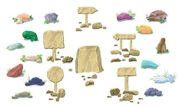 Collezione di pietre naturali del fumetto Vettore gratuito