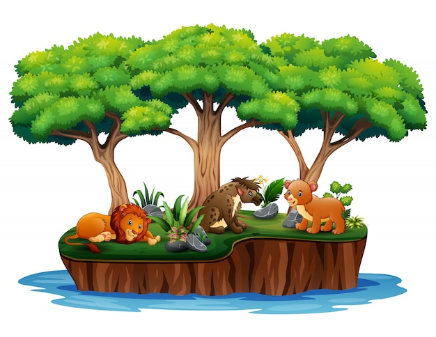 Cartoon nature island with wild animals Premium Vector