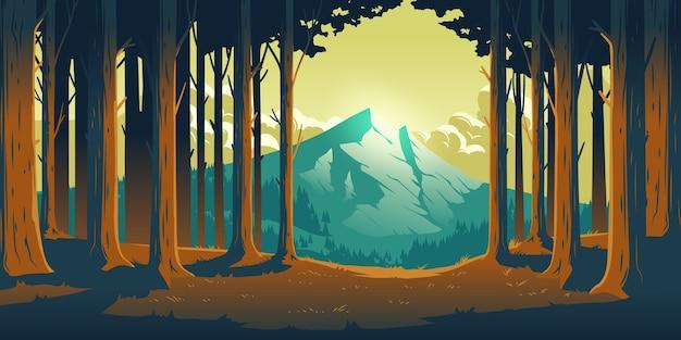 Мультяшный природный пейзаж с горой в лесу, расчистка стволов лиственных деревьев Бесплатные векторы