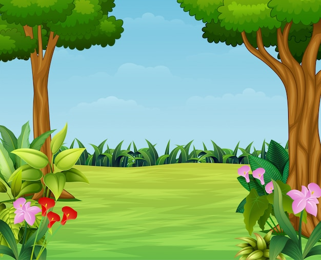 Cartoon of nature scene with beautiful park Premium Vector