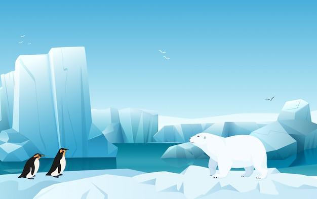 氷山、雪の山の丘と漫画自然冬の北極の氷の風景。ホワイトベアとペンギン。ゲームスタイルのイラスト。 Premiumベクター