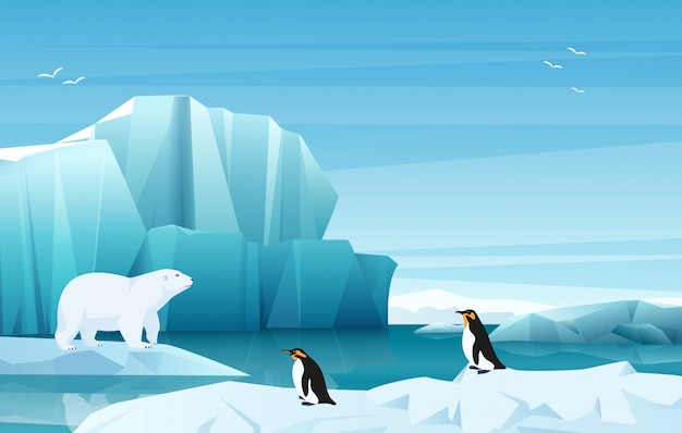 Cartoon nature winter arctic landscape with ice mountains. white bear and penguins.  game style illustration. Premium Vector