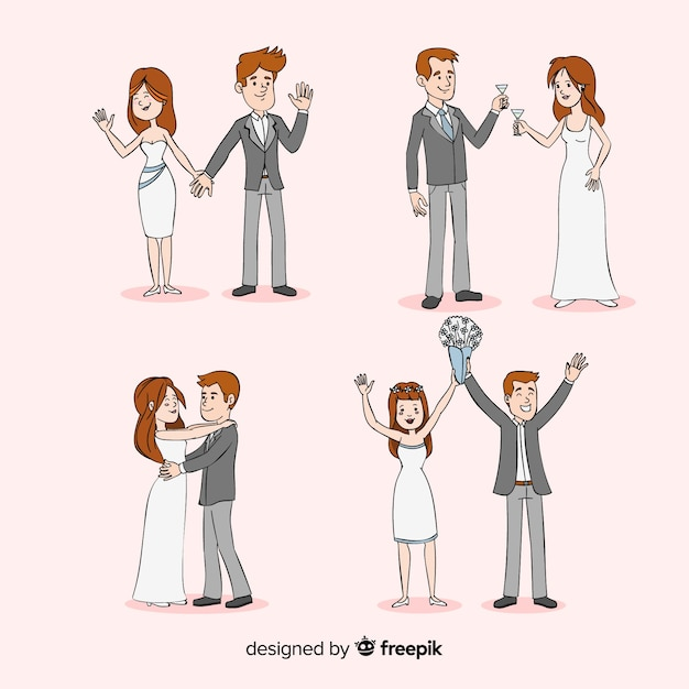 Cartoon newlyweds collection Free Vector
