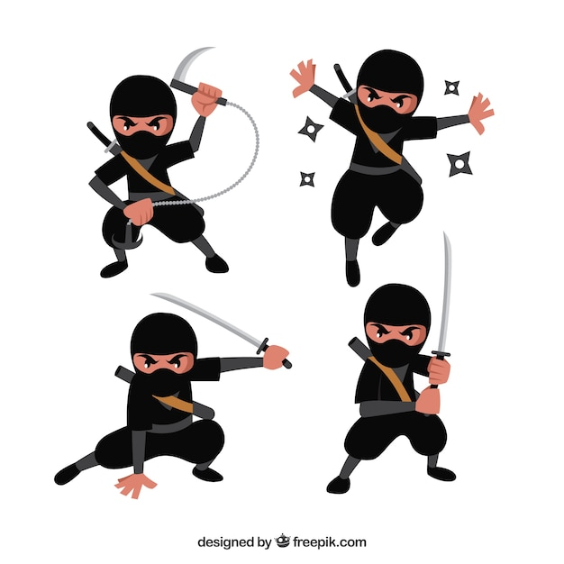Cartoon ninja character in different poses Free Vector