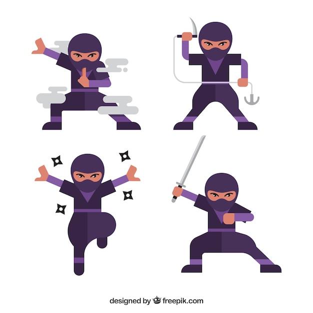 Мультяшный персонаж ниндзя в разных позах Бесплатные векторы