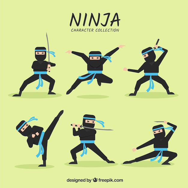 Cartoon ninja character in different\ poses