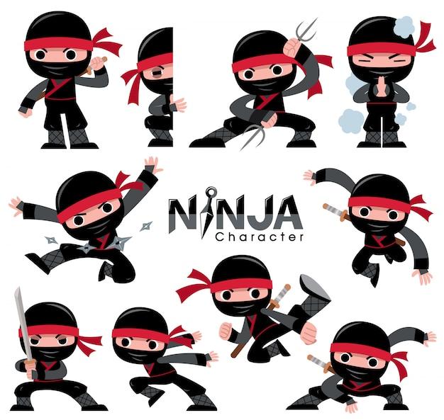 Набор символов мультфильма ниндзя. боевые позы Premium векторы