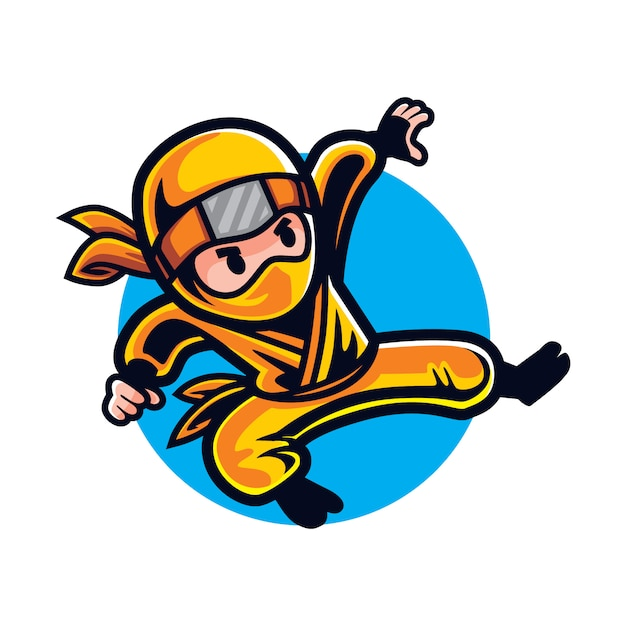 Cartoon ninja strike Premium Vector