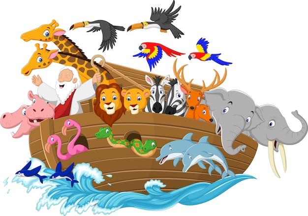 Cartoon noah's ark isolated on white background Premium Vector