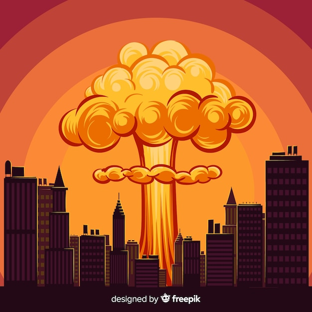 Cartoon nuclear explosion in a city Free Vector