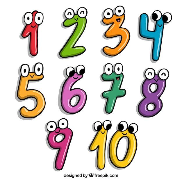 文字を含む漫画の数の集まり Premiumベクター