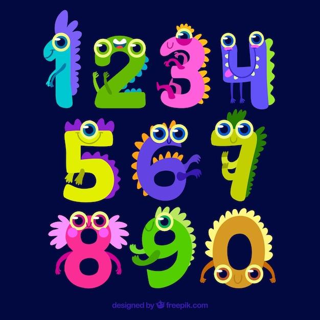 Коллекция мультяшных номеров с символами Бесплатные векторы